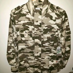 Kensie Green Faded Camouflage Utility Jacket - NWT